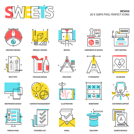 copy writing: Sweets icons, design concept illustrations, icons, backgrounds and graphics. The illustration is colorful, flat, pixel perfect, suitable for web and print. It is linear stokes and fills. Illustration