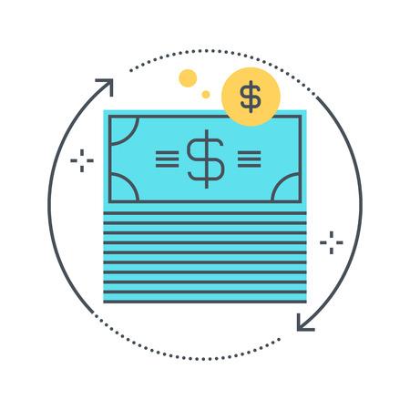 적합: Color line, money flow illustration, icon, background and graphics. The illustration is colorful, flat, pixel perfect, suitable for web and print. Linear stokes and fills. 일러스트
