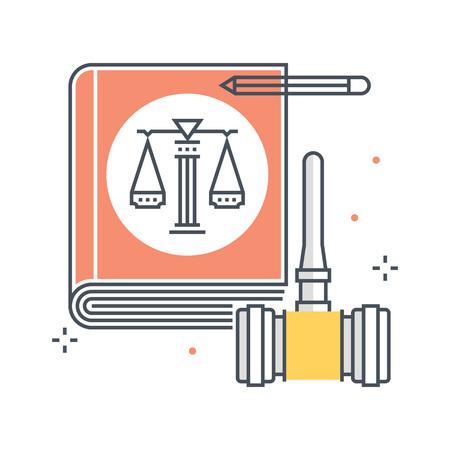 Kleurenlijn, wetboekillustratie, pictogram, achtergrond en grafiek. De illustratie is kleurrijk, vlak, pixel perfect, geschikt voor web en print. Lineaire stookt en vult.
