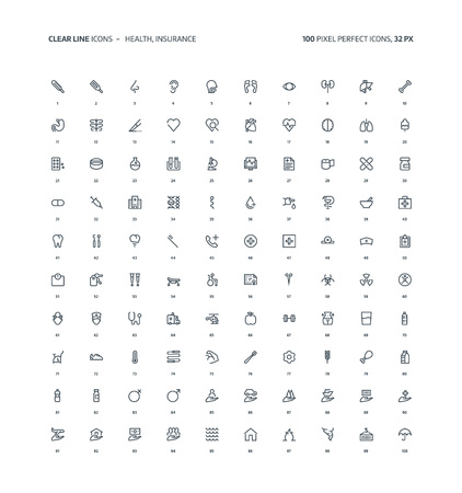 Health and insurance clear line, illustrations, icons, backgrounds and graphics. The icons pack is black and white, flat, pixel perfect, minimal, suitable for web and print. Linear pictograms. Stock Illustratie