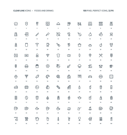 Foods and drinks clear line, illustrations, icons, backgrounds and graphics. The icons pack is black and white, flat, pixel perfect, minimal, suitable for web and print. Linear pictograms. Ilustrace