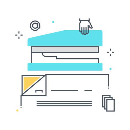 컬러 라인, stampler 그림, 아이콘, 배경 및 그래픽. 그림은 컬러 풀 한, 평면, 픽셀 완벽 하 고 웹 및 인쇄에 적합합니다. 선형 스톡 및 채우기.