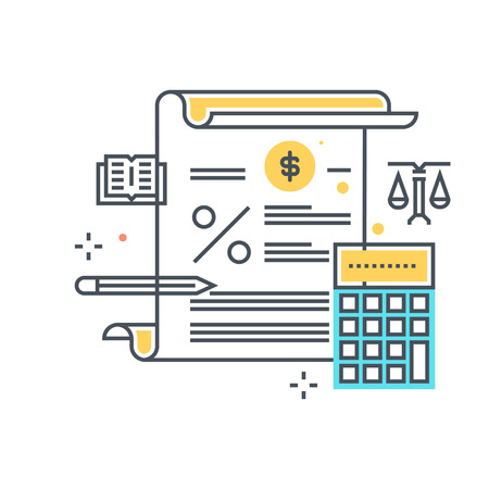 tax attorney: Color line, tax law illustration, icon, background and graphics. The illustration is colorful, flat, pixel perfect, suitable for web and print. Linear stokes and fills. Illustration