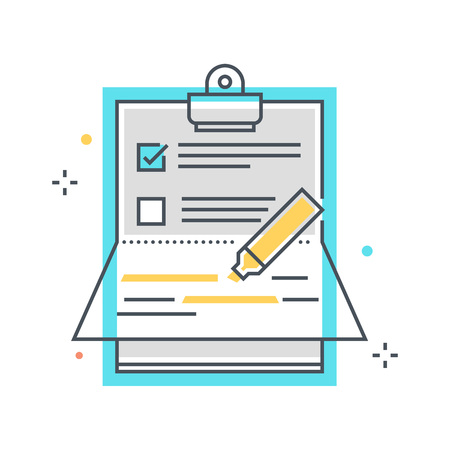 writing pad: Color line, paper binder illustration, icon, background and graphics. The illustration is colorful, flat, pixel perfect, suitable for web and print. Linear stokes and fills.