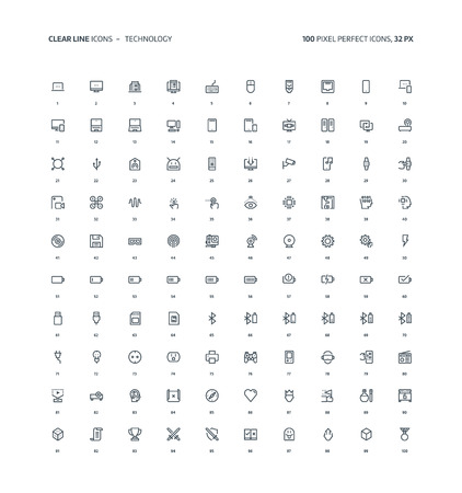 Technology and gaming clear line, illustrations, icons, backgrounds and graphics. The icons pack is black and white, flat, pixel perfect, minimal, suitable for web and print. Linear pictograms. 矢量图像