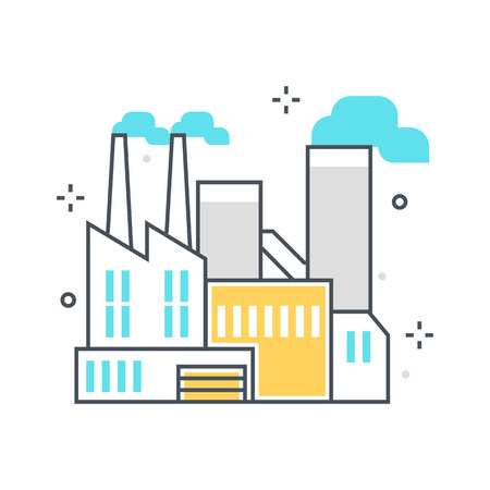 Color line, factory building concept illustration, icon, background and graphics. The illustration is colorful, flat, vector, pixel perfect, suitable for web and print. It is linear stokes and fills.