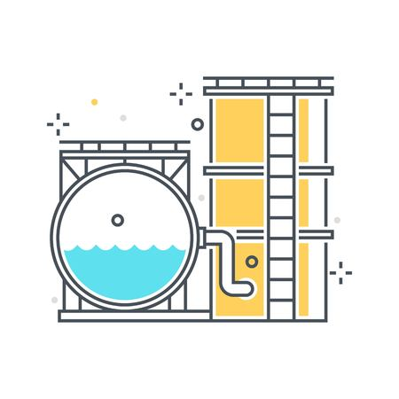 sewage treatment plant: Color line, storage tank concept illustration, icon, background and graphics. The illustration is colorful, flat, vector, pixel perfect, suitable for web and print. It is linear stokes and fills.