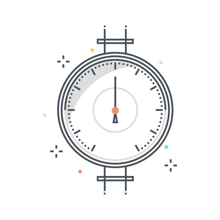 Color line, pressure meter concept illustration, icon, background and graphics. The illustration is colorful, flat, vector, pixel perfect, suitable for web and print. It is linear stokes and fills. Illustration
