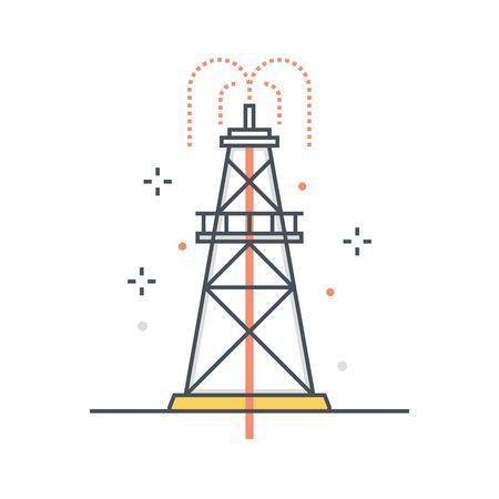 Color line, drilling rig concept illustration, icon, background and graphics. The illustration is colorful, flat, vector, pixel perfect, suitable for web and print. It is linear stokes and fills.