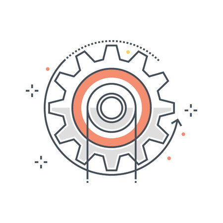 Color line, energy, cog concept illustration, icon, background and graphics. The illustration is colorful, flat, vector, pixel perfect, suitable for web and print. It is linear stokes and fills.