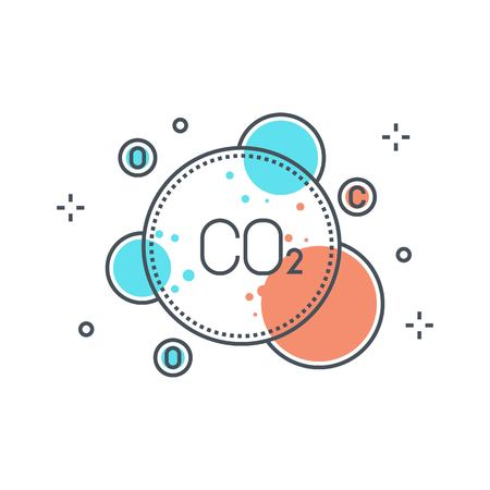 Color line, pollution concept illustration, icon, background and graphics. The illustration is colorful, flat, vector, pixel perfect, suitable for web and print. It is linear stokes and fills.  イラスト・ベクター素材