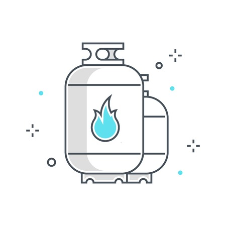 Color line, gas tank illustration, icon, background and graphics. The illustration is colorful, flat, vector, pixel perfect, suitable for web and print. It is linear stokes and fills. Ilustração