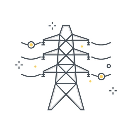 Color line, electricity illustration, icon, background and graphics. The illustration is colorful, flat, vector, pixel perfect, suitable for web and print. It is linear stokes and fills.