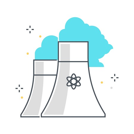 nuclear plant: Color line, nuclear plant illustration, icon, background and graphics. The illustration is colorful, flat, vector, pixel perfect, suitable for web and print. It is linear stokes and fills. Illustration