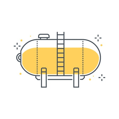Color line, gas tank illustration, icon, background and graphics. The illustration is colorful, flat, vector, pixel perfect, suitable for web and print. It is linear stokes and fills. Иллюстрация