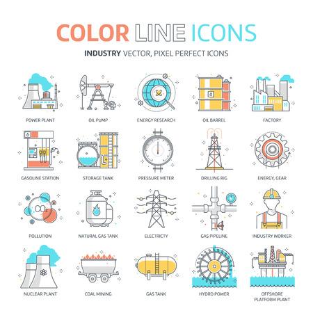 컬러 라인, 에너지 산업 일러스트, 아이콘, 배경 및 그래픽. 그림은 다채로운, 평면, 벡터, 픽셀 완벽 한, 웹 및 인쇄에 적합합니다. 선형 스톡 및 채우기 일러스트