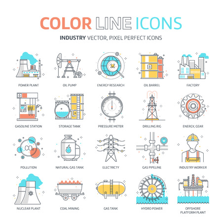 Color line, energy industry illustrations, icons, backgrounds and graphics. The illustration is colorful, flat, vector, pixel perfect, suitable for web and print. It is linear stokes and fills.
