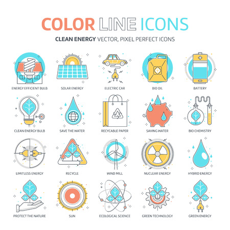 Color line, green energy illustrations, icons, backgrounds and graphics. The illustration is colorful, flat, vector, pixel perfect, suitable for web and print. It is linear stokes and fills.
