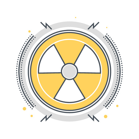 vector nuclear: Color line, nuclear energy concept illustration, icon, background and graphics. The illustration is colorful, flat, vector, pixel perfect, suitable for web and print. It is linear stokes and fills.
