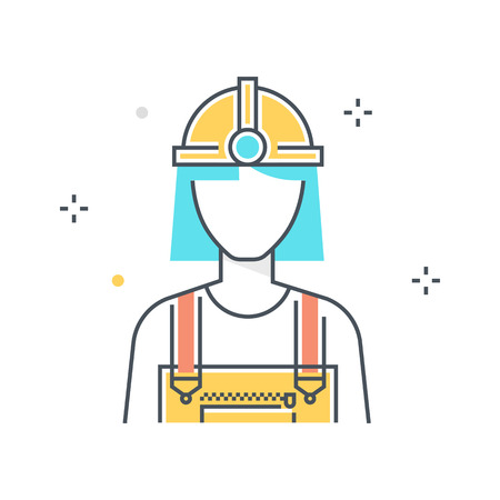 Color line, industry worker illustration, icon, background and graphics. The illustration is colorful, flat, vector, pixel perfect, suitable for web and print. It is linear stokes and fills.