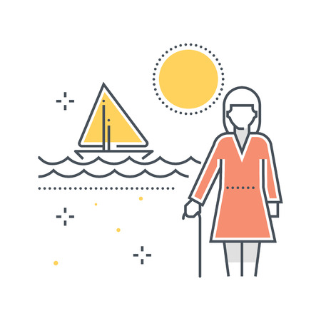 Color line, summer holiday, retirement illustration, icon, background and graphics. The illustration is colorful, flat, vector, pixel perfect, suitable for web and print. It is linear stokes and fills.