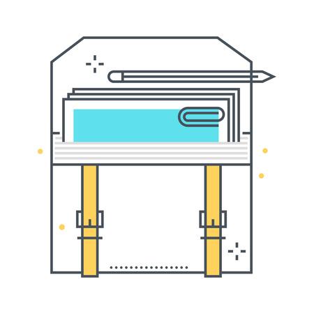 컬러 라인, 비즈니스 가방 개념 그림, 아이콘, 배경 및 그래픽. 그림은 웹 및 인쇄에 적합한 다채로운, 평면, 벡터, 완벽한 픽셀입니다. 그것은 선형 스 일러스트