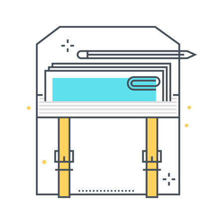 career timing: Color line, business suitcase concept illustration, icon, background and graphics. The illustration is colorful, flat, vector, pixel perfect, suitable for web and print. It is linear stokes and fills. Illustration