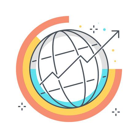 컬러 라인, 글로벌 통계 개념 그림, 아이콘, 배경 및 그래픽. 그림은 다채로운, 평면, 벡터, 픽셀 완벽 한, 웹 및 인쇄에 적합합니다. 선형 스톡 및 채우