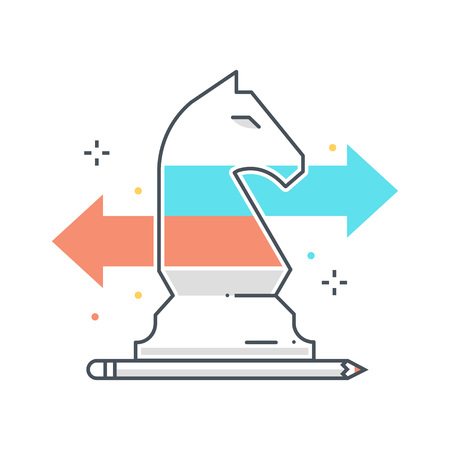 caballo de ajedrez: Color line, strategy concept illustration, icon, background and graphics. The illustration is colorful, flat, vector, pixel perfect, suitable for web and print. It is linear stokes and fills.