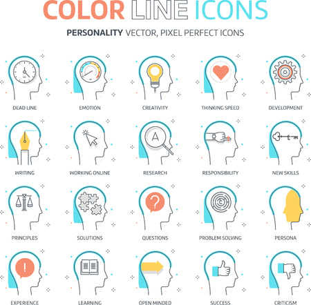 design process: Color line, personality illustrations, icons, backgrounds and graphics. The illustration is colorful, flat, vector, pixel perfect, suitable for web and print. It is linear stokes and fills. Illustration