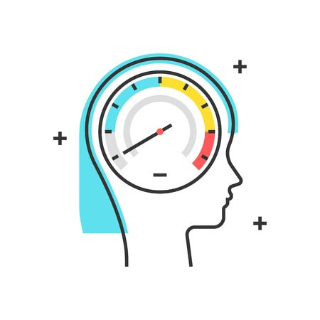 profile measurement: Color box icon, speedometer concept illustration, icon, background and graphics. The illustration is colorful, flat, vector, pixel perfect, suitable for web and print. It is linear stokes and fills.
