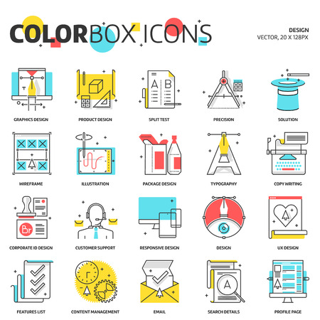 cons: Color box icons, design concept illustrations, icons, backgrounds and graphics. The illustration is colorful, flat, vector, pixel perfect, suitable for web and print. It is linear stokes and fills.