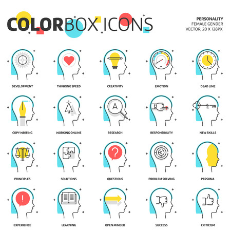 Color box icons, business and personality concept illustrations, icons, backgrounds and graphics. The illustration is colorful, flat, vector, pixel perfect, suitable for web and print. It is linear stokes and fills.