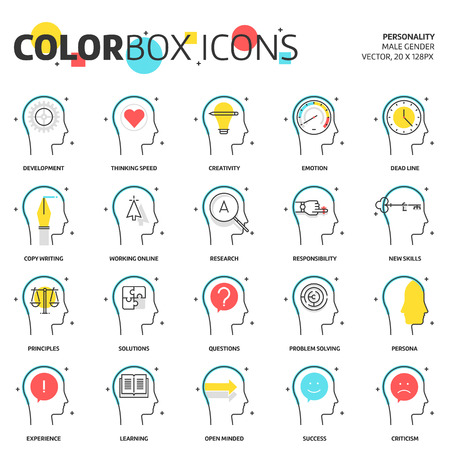 open minded: Color box icons, business and personality concept icons, business and personality concept illustrations, icons, backgrounds and graphics. The illustration is colorful, flat, vector, pixel perfect, suitable for web and print. It is linear stokes and fills.