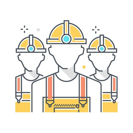 Color line, construction workers concept illustration, icon, background and graphics. The illustration is colorful, flat, vector, pixel perfect, suitable for web and print. It is linear stokes and fills.