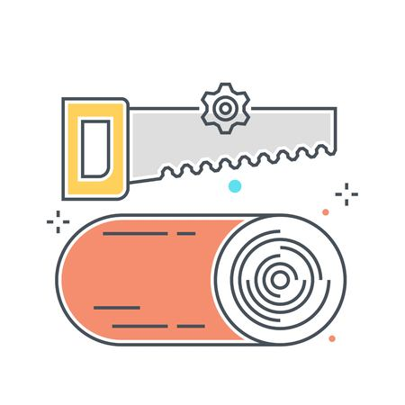 Color line, saw and wood concept illustration, icon, background and graphics. The illustration is colorful, flat, vector, pixel perfect, suitable for web and print. It is linear stokes and fills.