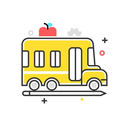 Color box school bus icon, background and graphics. The illustration is colorful, flat, vector, pixel perfect, suitable for web and print. It is linear stokes and fills.
