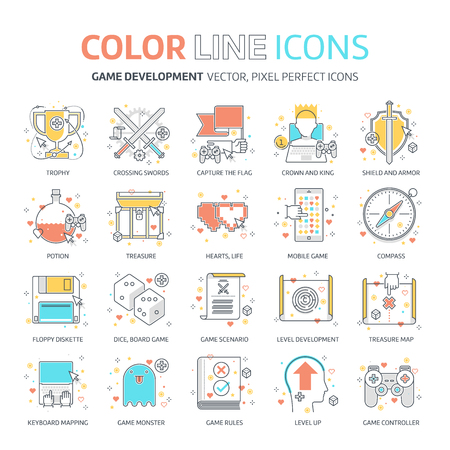 Color line, game design illustrations, icons, backgrounds and graphics. The illustration is colorful, flat, vector, pixel perfect, suitable for web and print. It is linear stokes and fills. Illusztráció