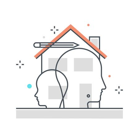 Color line, sharing house illustration, icon, background and graphics. The illustration is colorful, flat, vector, pixel perfect, suitable for web and print. It is linear stokes and fills.