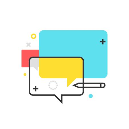 discussion forum: Color box dialogue box icon, background and graphics. The illustration is colorful, flat, vector, pixel perfect, suitable for web and print. It is linear stokes and fills.