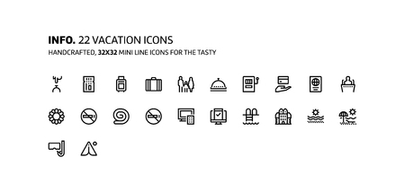 Vacation mini line, illustrations, icons, backgrounds and graphics. The icons pack is black and white, flat, vector, pixel perfect, minimal, suitable for web and print.