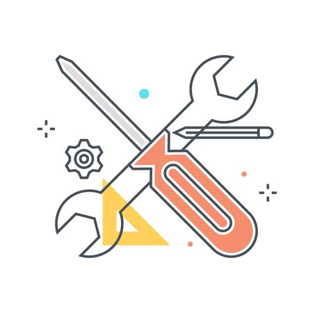 Color line, screwdriver and wrench illustration, icon, background and graphics. The illustration is colorful, flat, vector, pixel perfect, suitable for web and print. It is linear stokes and fills.
