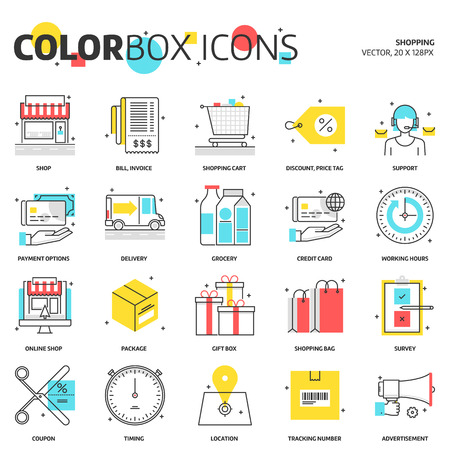 timing the market: Color box icons, shopping concept illustrations, icons, backgrounds and graphics. The illustration is colorful, flat, vector, pixel perfect, suitable for web and print. It is linear stokes and fills.