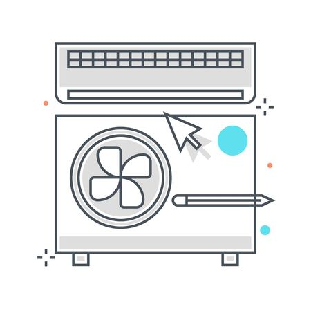 Color line, air conditioning illustration, icon, background and graphics. The illustration is colorful, flat, vector, pixel perfect, suitable for web and print. It is linear stokes and fills.