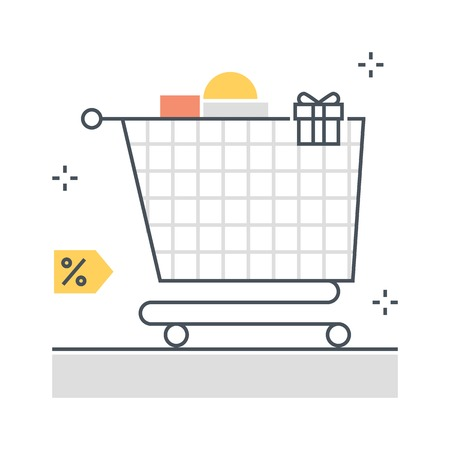 Color line, shopping cart concept illustration, icon, background and graphics. The illustration is colorful, flat, vector, pixel perfect, suitable for web and print. It is linear stokes and fills.