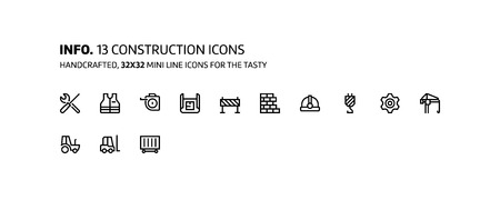 Construction mini line, illustrations, icons, backgrounds and graphics. The icons pack is black and white, flat, vector, pixel perfect, minimal, suitable for web and print. Linear pictograms. Illustration