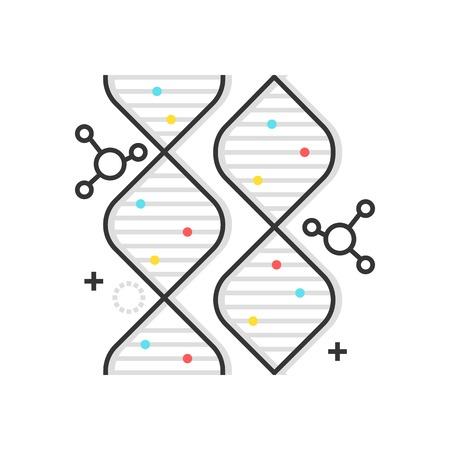 cromosoma: Icono de gene de cuadro de color, fondo y gráficos. La ilustración es colorida, plana, vectorial, perfecta en píxeles, adecuada para web e impresión. Es lineal alimenta y llena.