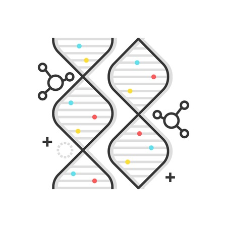 Color box gene icon, background and graphics. The illustration is colorful, flat, vector, pixel perfect, suitable for web and print. It is linear stokes and fills.