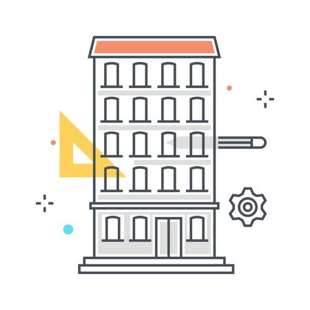 Color line, apartment illustration, icon, background and graphics. The illustration is colorful, flat, vector, pixel perfect, suitable for web and print. It is linear stokes and fills.