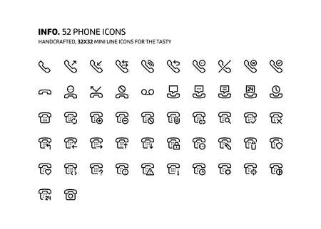 Phone mini line, illustrations, icons, backgrounds and graphics. The icons pack is black and white, flat, vector, pixel perfect, minimal, suitable for web and print.